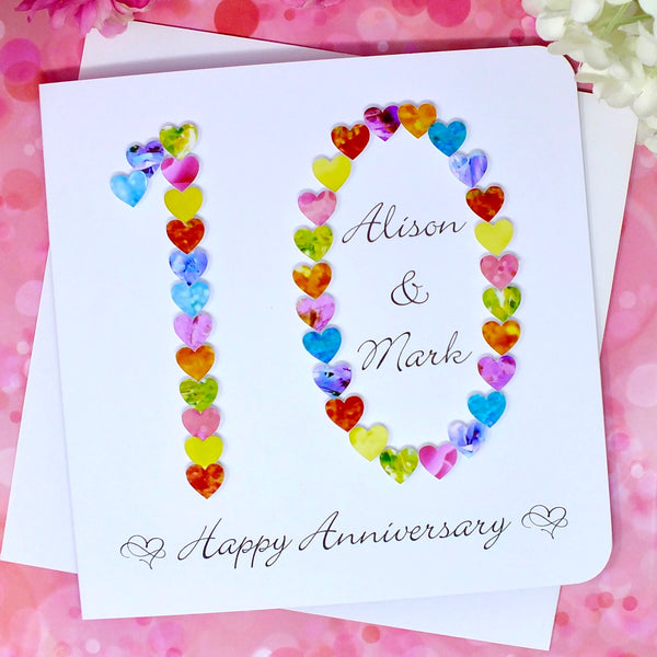 10th Wedding Anniversary Card - Hearts, Personalised