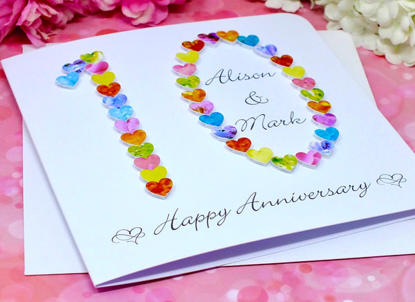 10th Wedding Anniversary Card - Hearts, Personalised alternate view