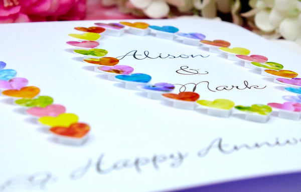 10th Wedding Anniversary Card - Hearts, Personalised close up