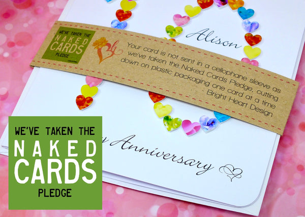 10th Wedding Anniversary Card - Hearts, Personalised + Band