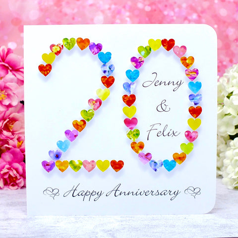 20th Wedding Anniversary Card - Hearts, Personalised