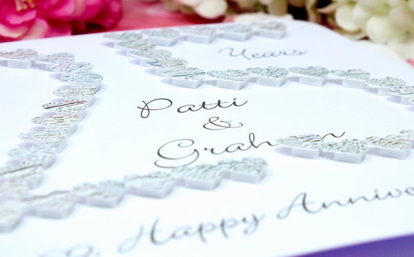 25th Silver Wedding Anniversary Card - Hearts, Personalised