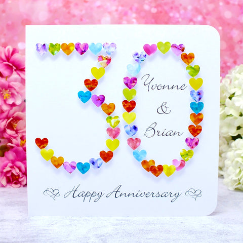 30th Wedding Anniversary Card - Hearts, Personalised