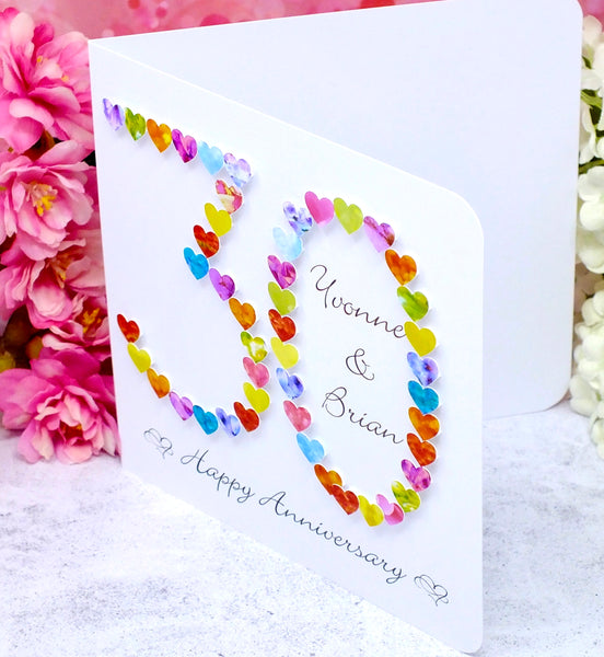 30th Wedding Anniversary Card - Hearts, Personalised side