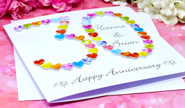 30th Wedding Anniversary Card - Hearts, Personalised alternate view
