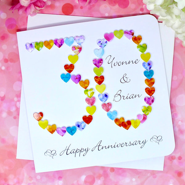 30th Wedding Anniversary Card - Hearts, Personalised front