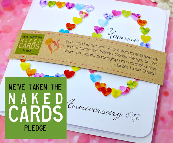 30th Wedding Anniversary Card - Hearts, Personalised + Band