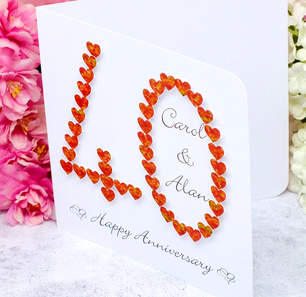40th Ruby Wedding Anniversary Card - Hearts, Personalised