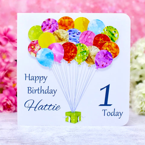 1st Birthday Card - Balloons, Personalised