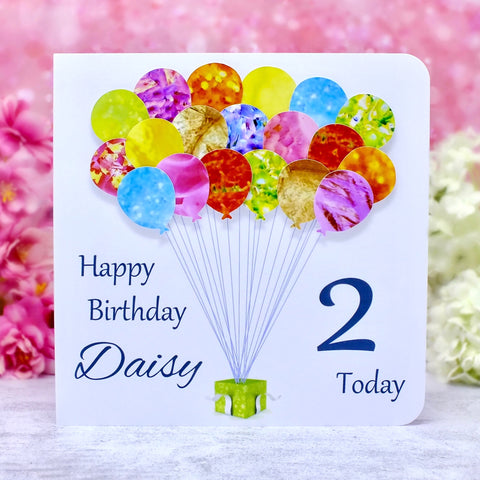 2nd Birthday Card - Balloons, Personalised