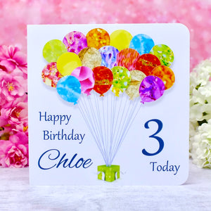 3rd Birthday Card - Balloons, Personalised