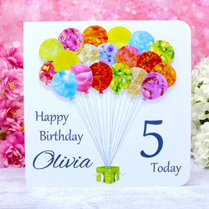 5th Birthday Card - Balloons, Personalised