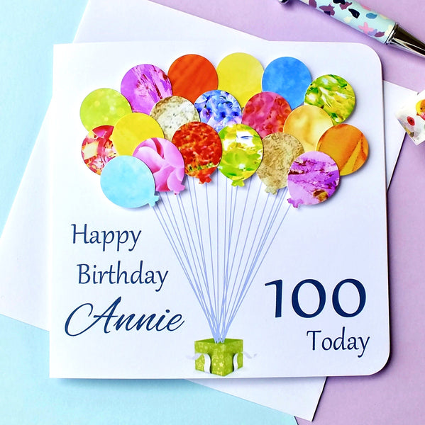 100th Birthday Card - Balloons, Personalised Front