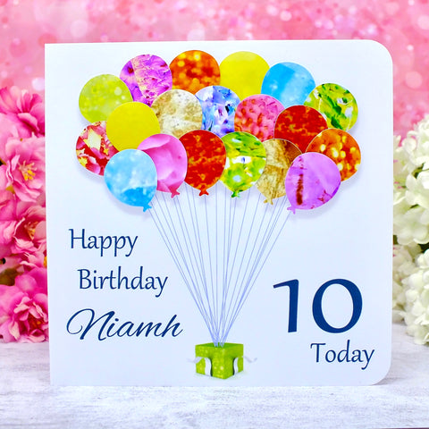 10th Birthday Card - Balloons, Personalised