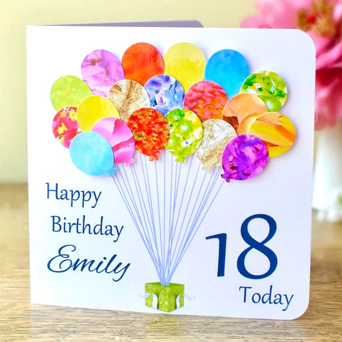 18th Birthday Card - Balloons, Personalised