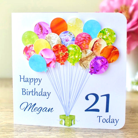21st Birthday Card - Balloons, Personalised
