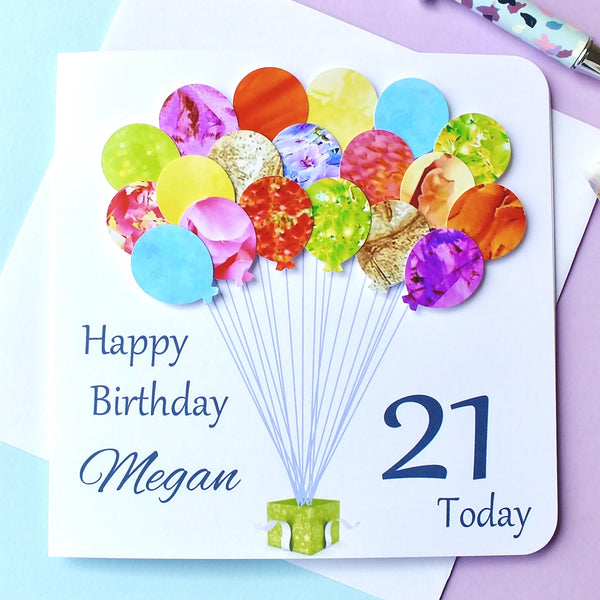 21st Birthday Card - Balloons, Personalised Front