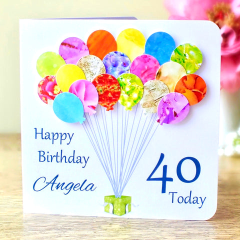 40th Birthday Card - Balloons, Personalised
