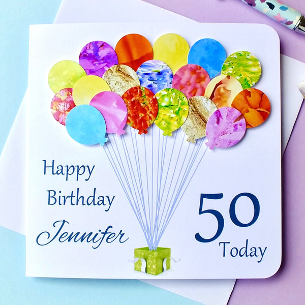 50th Birthday Card - Balloons, Personalised