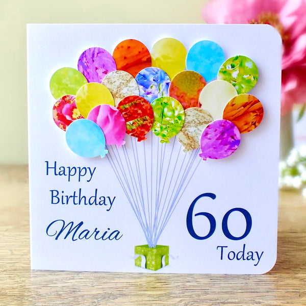 60th Birthday Card - Balloons, Personalised