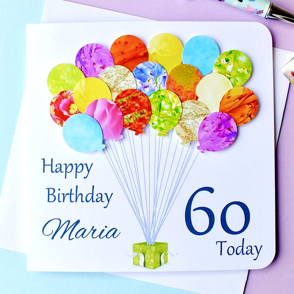 60th Birthday Card - Balloons, Personalised Front