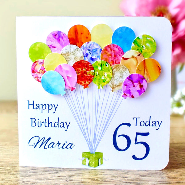 65th Birthday Card - Balloons, Personalised