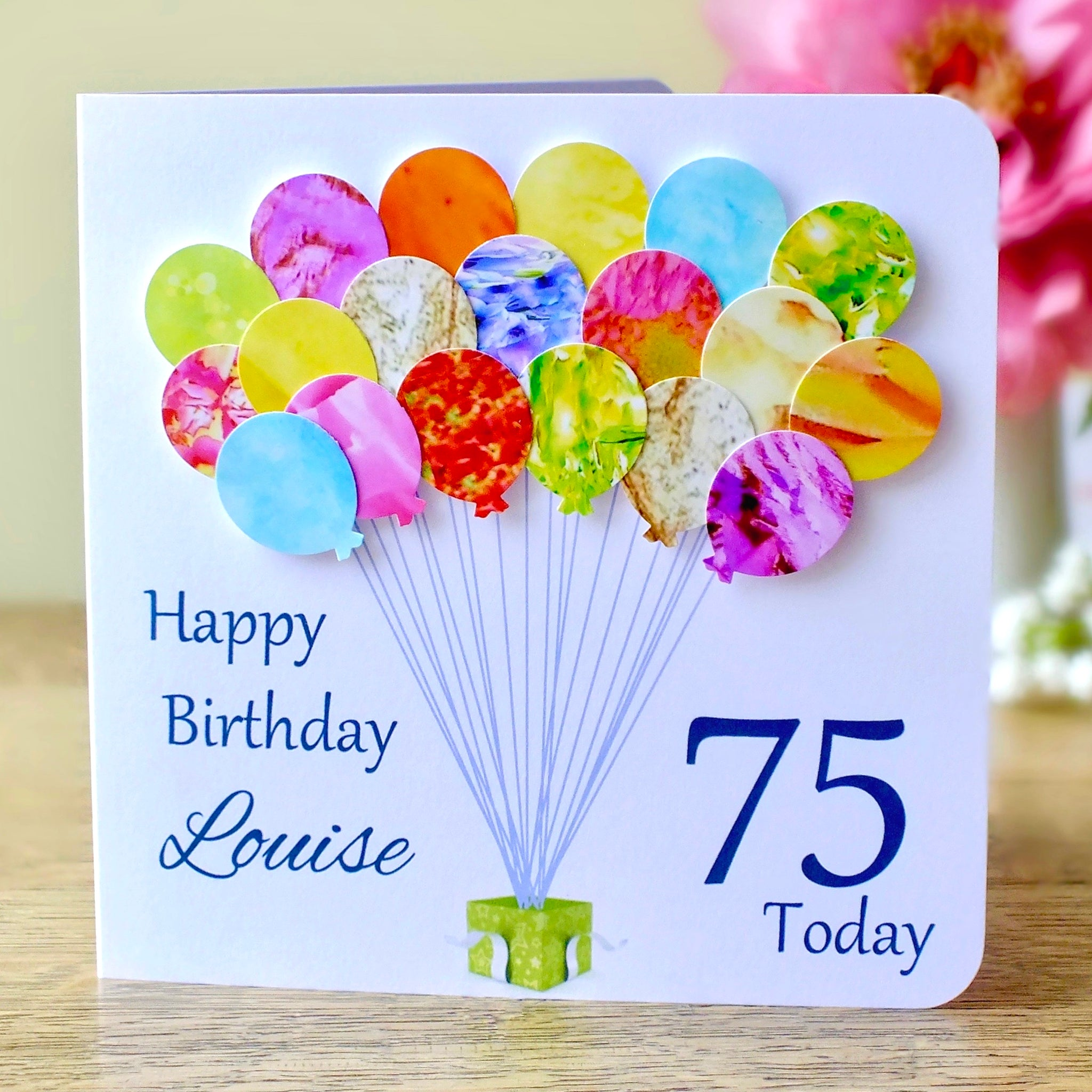 75th Birthday Card - Balloons, Personalised