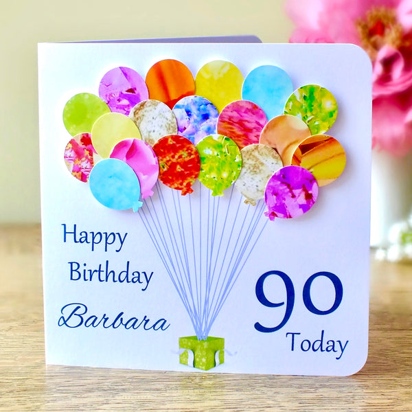 90th Birthday Card - Balloons, Personalised Main