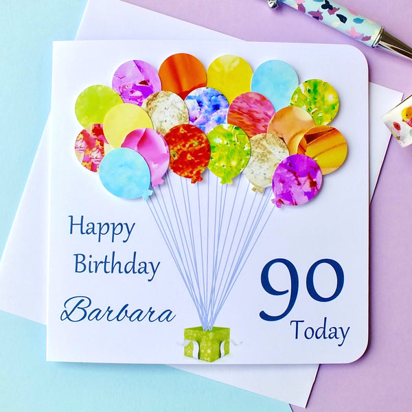 90th Birthday Card - Balloons, Personalised Front