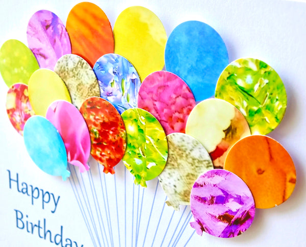 7th Birthday Card - Balloons, Personalised
