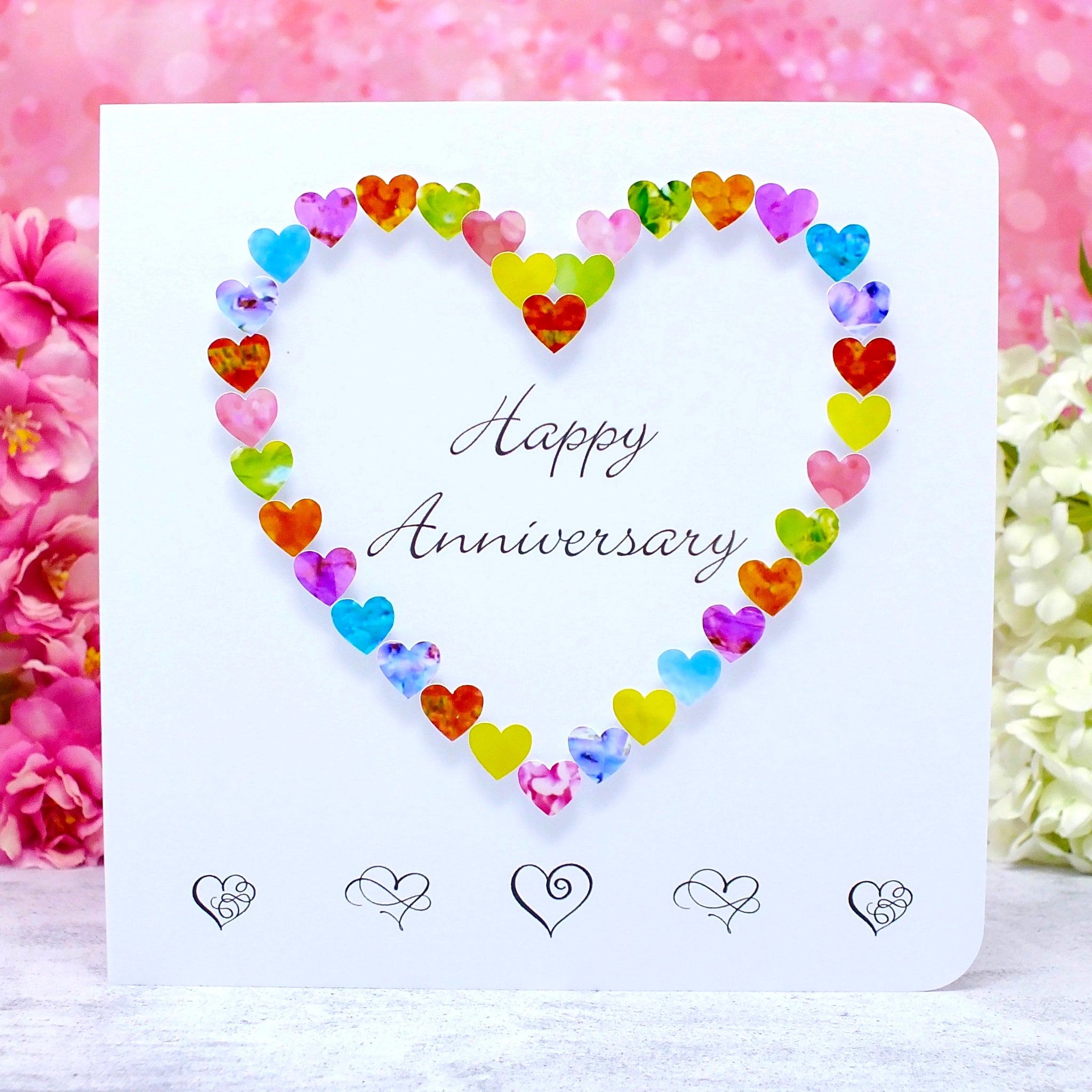 Happy Anniversary Card - Colourful Hearts main