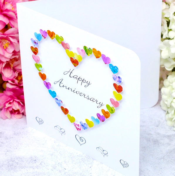 Happy Anniversary Card - Colourful Hearts side