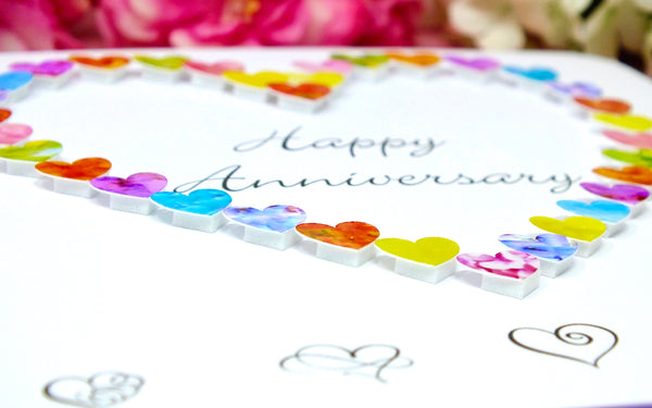 Happy Anniversary Card - Colourful Hearts close up