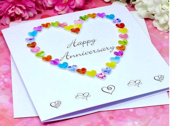 Happy Anniversary Card - Colourful Hearts alternate view