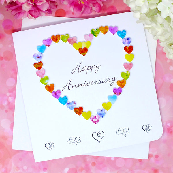 Happy Anniversary Card - Colourful Hearts front