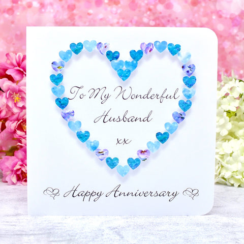 Husband Wedding Anniversary Card - Blue Hearts