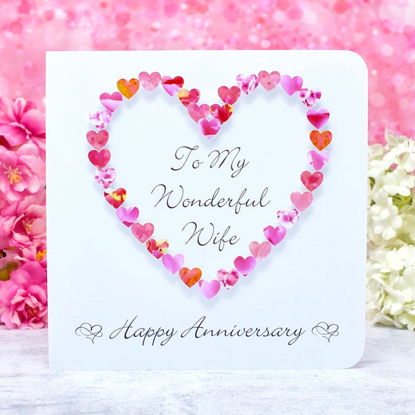 Wedding Anniversary Card for Wife - Pink Hearts main