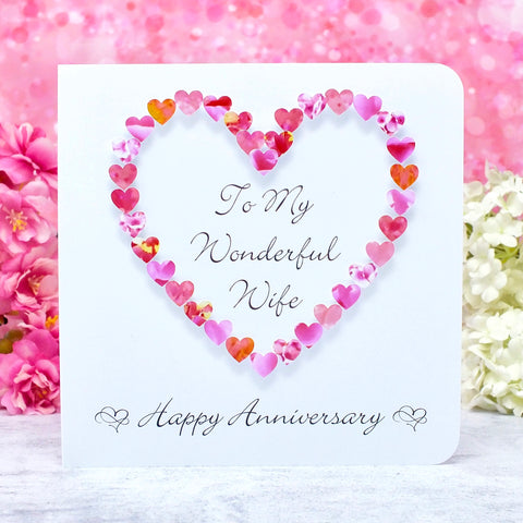 Wife Wedding Anniversary Card - Pink Hearts
