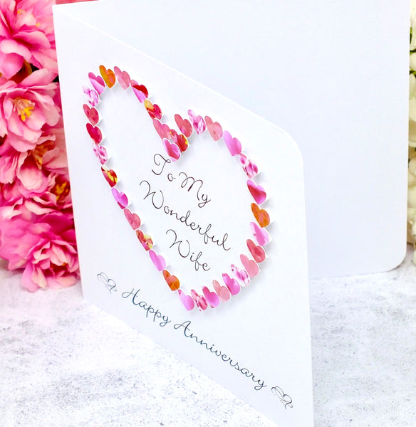 Wedding Anniversary Card for Wife - Pink Hearts side