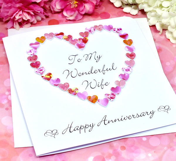 Wedding Anniversary Card for Wife - Pink Hearts alternate