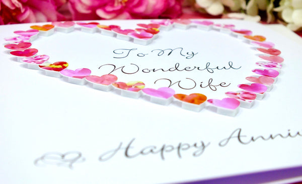 Wedding Anniversary Card for Wife - Pink Hearts close up