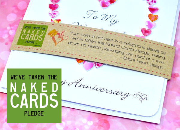 Wedding Anniversary Card for Wife - Pink Hearts + Band