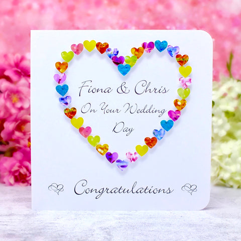 On Your Wedding Day Card - Hearts, Personalised Main