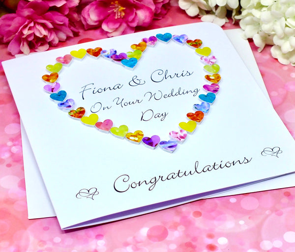 On Your Wedding Day Card - Hearts, Personalised