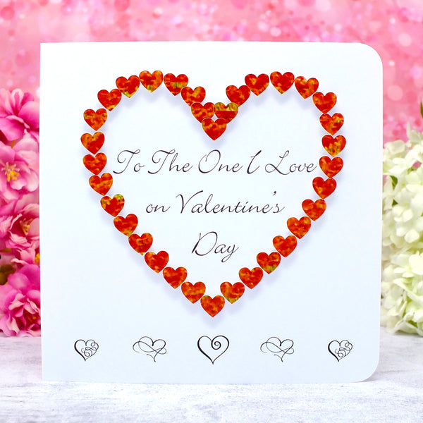 To The One I Love on Valentine's Day Card - Hearts Main