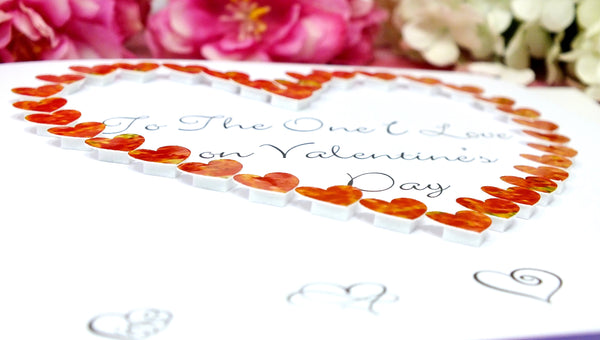 To The One I Love on Valentine's Day Card - Hearts Close Up