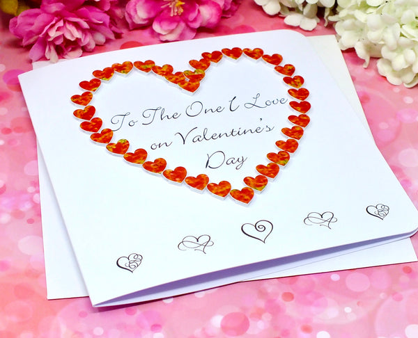 To The One I Love on Valentine's Day Card - Hearts Front