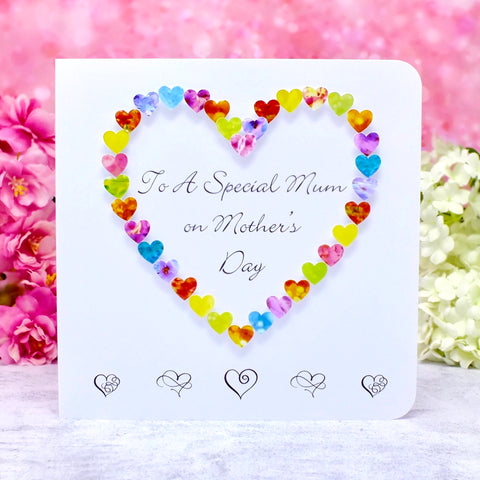 To a Special Mum on Mother's Day Card - Hearts Main