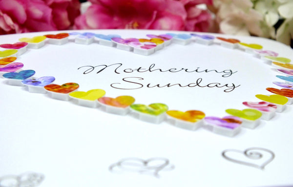 Mothering Sunday Card - Hearts Close Up