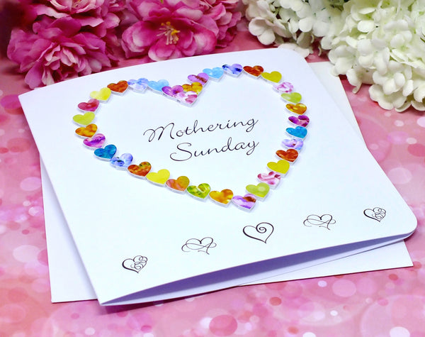 Mothering Sunday Card - Hearts Front